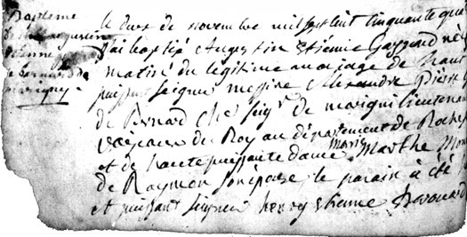 Extrait de l'acte de baptme de Gaspard de Bernard de Marigny