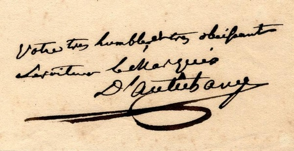 Dtail de la lettre autographe de d'Autichamp (lot n41)