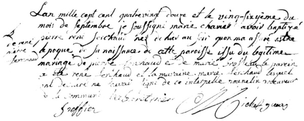 Extrait du registre de La Chapelle-Largeau pour l'année 1792