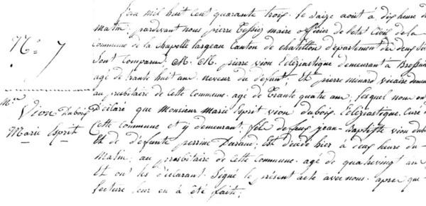 Acte de décès de M. Vion-Dubois