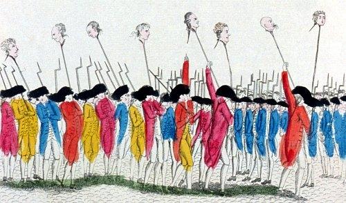« C'est ainsi que l'on se venge des traîtres ». Gravure de 1789 représentant notamment les têtes de Flesselles et de Launay au bout d'une pique
