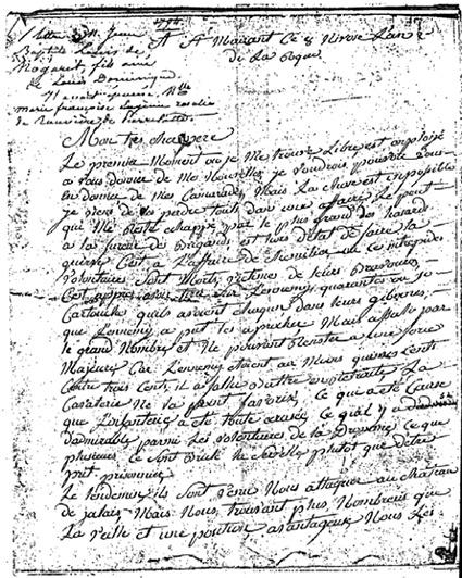 Fac-similé de la première page L'orthographe ainsi que les tournures de phrases ont été conservés par souci d'authenticité. Le militaire commence sa lettre ainsi:   «Mon très cher père, le premier moment où je me trouve libre est enploijé a vous donner de mes nouvelles.»