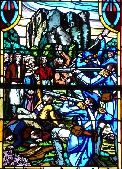 « dans L'instant : L'église a été couverte de leur morts, pas un n'est échapé a nottre juste vengence ; on n'a jamais vu boucherie pareille.»