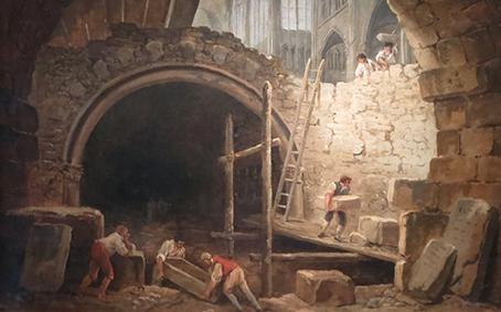 Hubert Robert illustre dans ce tableau l'avènement des temps nouveaux qui se concrétise par la destruction des symboles de l'Ancien Régime, le saccage des églises et des châteaux, la dispersion de collections et de bibliothèques. Mais ce vandalisme sinon dicté, du moins encouragé, suscite par contrecoup une prise de conscience, celle du patrimoine, d'une mémoire commune à sauvegarder.