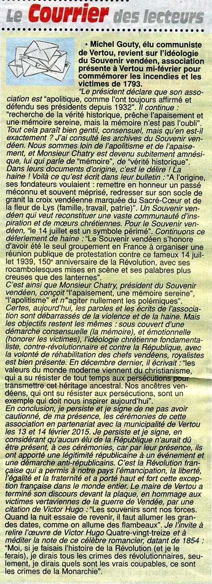 texte publié sur le site Facebook du Souvenir Vendéen