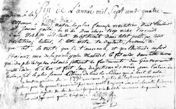 1790, les esprits s'échauffent jusque dans les registres paroissiaux