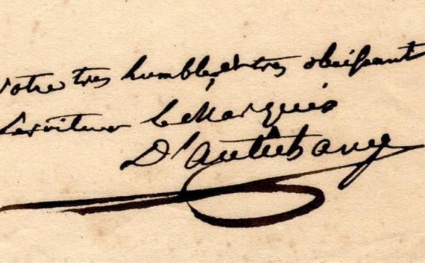 Vente de lettres et manuscrits à Fontainebleau