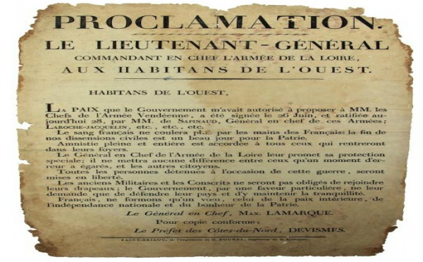 En vente à Drouot : Une affiche de la paix de Cholet (26 juin 1815)